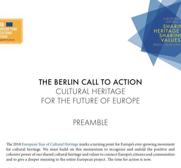 "Sign Now: Berlin Call to Action ""Cultural Heritage for Future of Europe"""